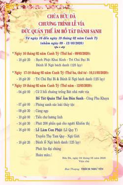Chùa Bửu Đà: Chương trình Lễ vía đức Quán Thế Âm Bồ Tát 19/02Al