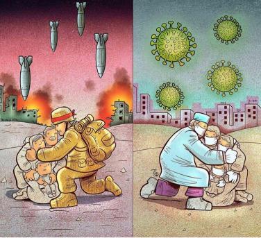 Bộ tranh khắc họa rõ nét cuộc chiến chống Covid-19 của họa sĩ Iran