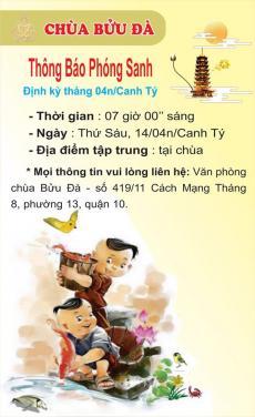 Chùa Bửu Đà: Thông báo định kỳ phóng sanh tháng 04n/Canh Tý