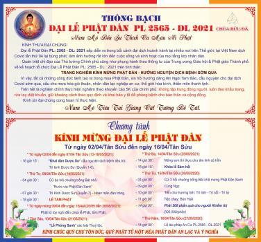 Chùa Bửu Đà: Chương trình Lễ Phật Đản PL.2565 - DL.2021