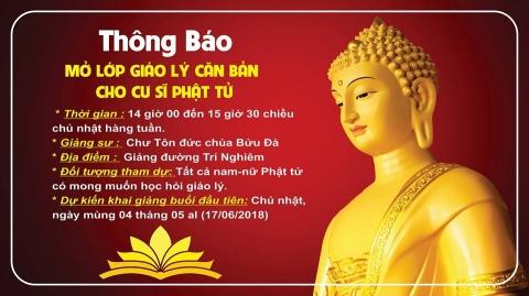 Thông Báo: Mở lớp Giáo Lý dành cho Cư sĩ Phật Tử