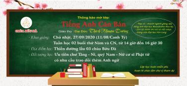 Thông báo khai giảng 'Lớp Tiếng Anh Căn Bản'