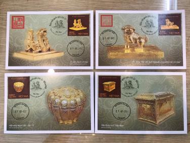 Bộ tem Bảo vật quốc gia: Đồ vàng (Hộp đựng Xá lợi Tháp Nhạn)