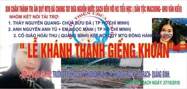 Lễ khánh thành giếng khoan tại Trường Tiểu Học số 1 Thượng Trạch - Quảng Bình