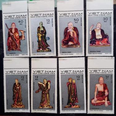Bộ tem tượng 18 vị Tổ thiền tông - La Hán chùa Tây Phương